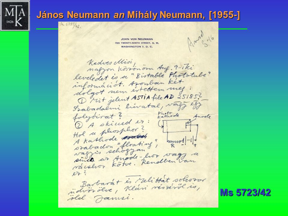 János Neumann an Mihály Neumann, [1955-]
